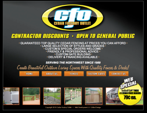 Cedar Factory Outlet Website design