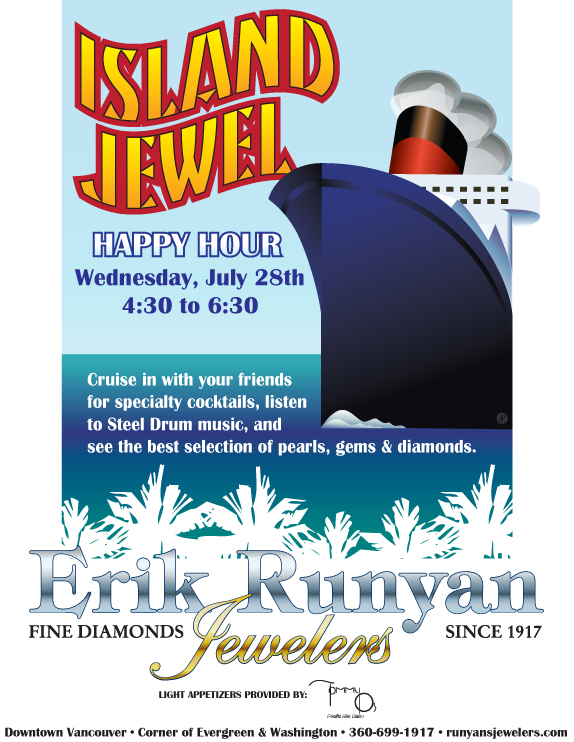 Island Jewel Happy Hour Promo Poster for Erik Runyan Jewelers