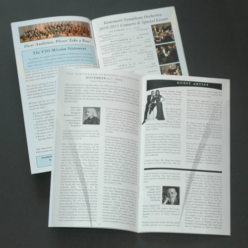 Vancouver Symphony Orchestra, Program Design, JS Collard Design